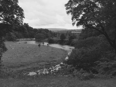 View of Bolton Abbey estate and priory